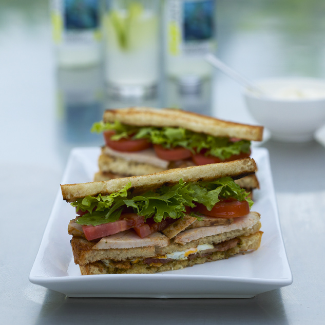 Club Sandwich with Chicken, Bacon, Eggs, Tomato, Mayonnaise
