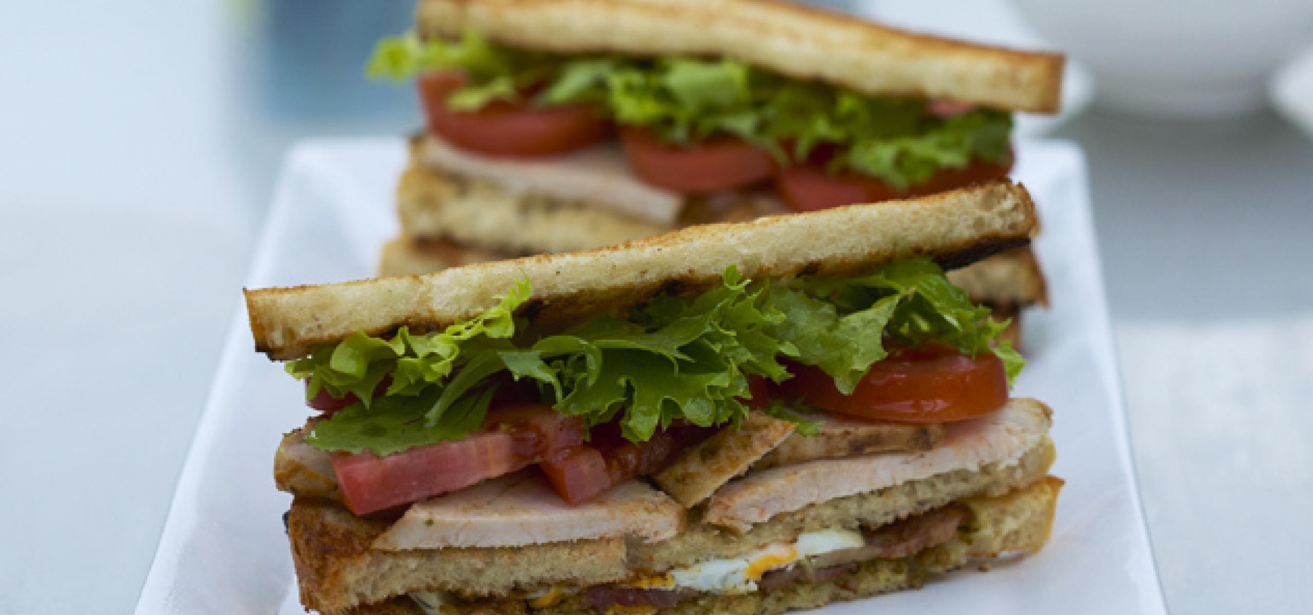 Club Sandwich with Chicken, Bacon, Eggs, Tomato ...
